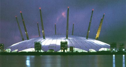 The Millennium Dome, standing right on the Greenwich Meridian.