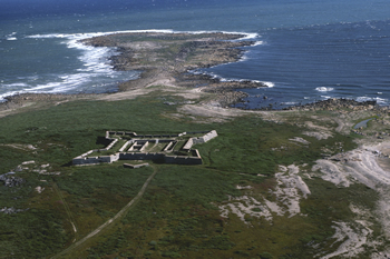 Arial view of Prince of Wales Fort National Historic Site at the mouth of the Churchill River
